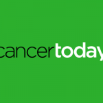 cancer today logo in black and white san serif font, all lower case, over vibrant grass-green background
