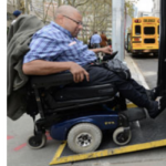 Two images side-by-side, one of a smart phone background with app tiles visible; a second with a wheelchair user rolling onto a wheelchair lift on a bus. DRLC logo.
